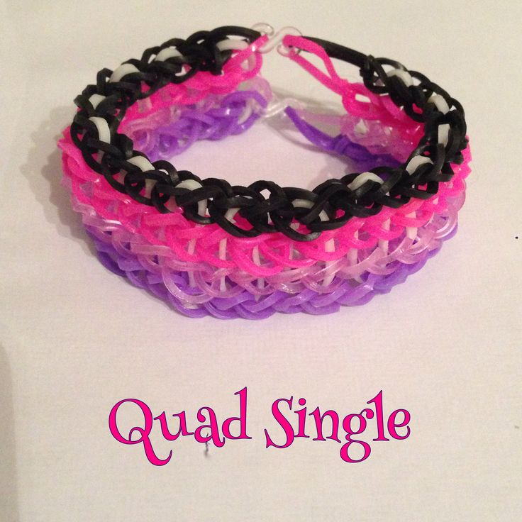 Black, neon pink, glitter purple and lilac Quad Single bracelet, made on 2 forks (design: Cheryl Mayberry)