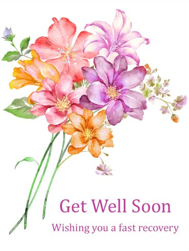 Gorgeous Flower Bouquet Get Well Card: Flowers have been used for centuries to express well wishes and send love to those who are away or ailing. If you have a friend or family member who is feeling sick, use this Get Well card to wish them a speedy recovery! The gorgeous flower bouquet that is featured on it will convey your heartfelt well wishes and let them know you care.
