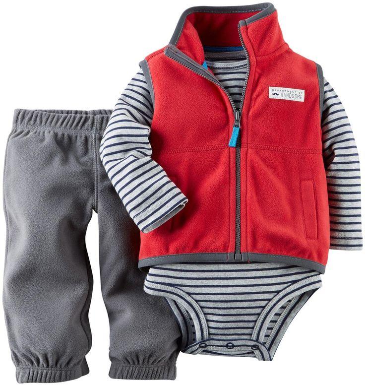 Amazon Com Carter S Baby Boys 3 Piece Fleece Vest Set