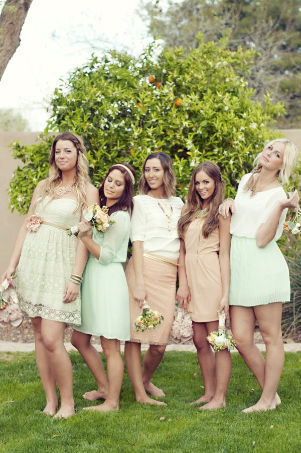 an assortment of FAB-U-LOUS bridesmaid attire in melon and minty greens  Photography by http://chantelmarie.com: Bridesmaid Dresses, Wedding Ideas, Wedding Stuff, Bridesmaids Dresses, Wedding Dress, Dream Wedding, Arizona Wedding, Future Wedding