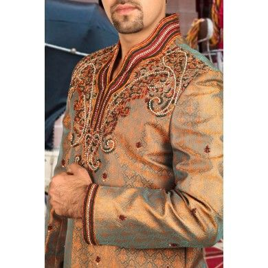 Graceful #Designer #Sherwani.  Buy online at www.ethnickurtas.com