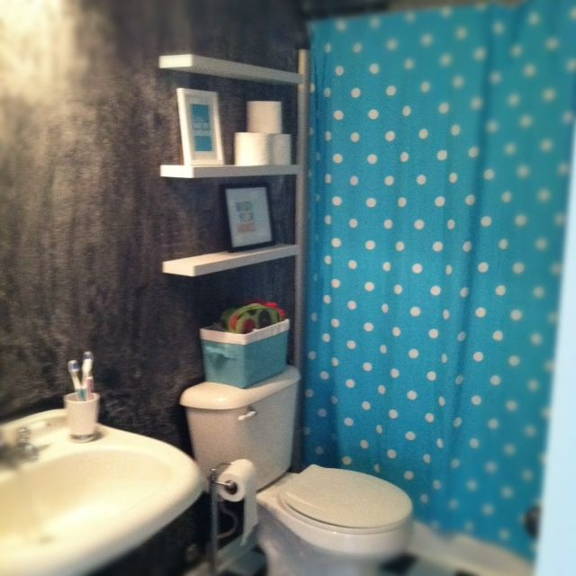 My Kiddo 39 S Bathroom Chalkboard Wall With Floating Shelves Over The Potty Target Shower Curtain