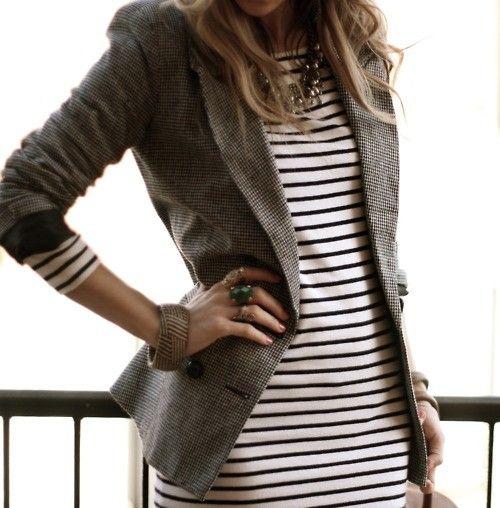 tan blazer and stripes