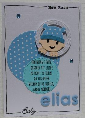 Gemaakt door Joke # babykaart - Elias geboren