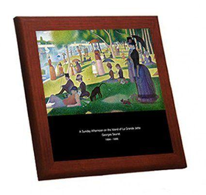 ジョルジュ・スーラ『 グランド・ジャット島の日曜日の午後 』の木枠付きフォトタイル(世界の名画シリーズ)