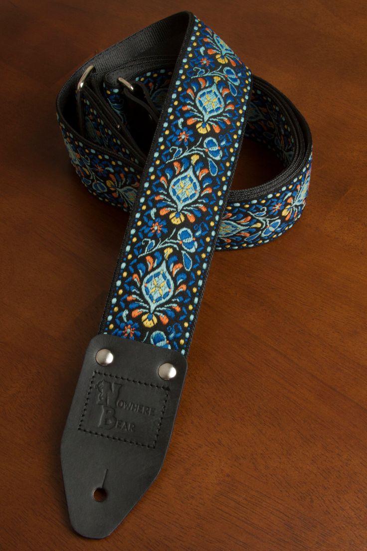 Blue/Orange/Black Vintage-styled Guitar Strap