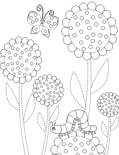 Flowers, butterfly and Caterpillar printable coloring pages