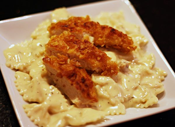 Crunchy chicken with creamy italian sauce and bow tie pasta. The chicken was to die for. The sauce was good -- but made way too much. You could cut the quantity in half and still have more than enough. I kept looking back at the recipe to make sure I was doing it right. I honestly could have done without the cream of chicken soup. The flavor overpowered the sauce.