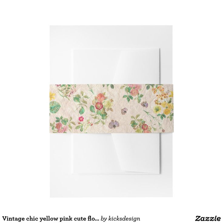 Vintage chic yellow pink cute floral pattern invitation belly band