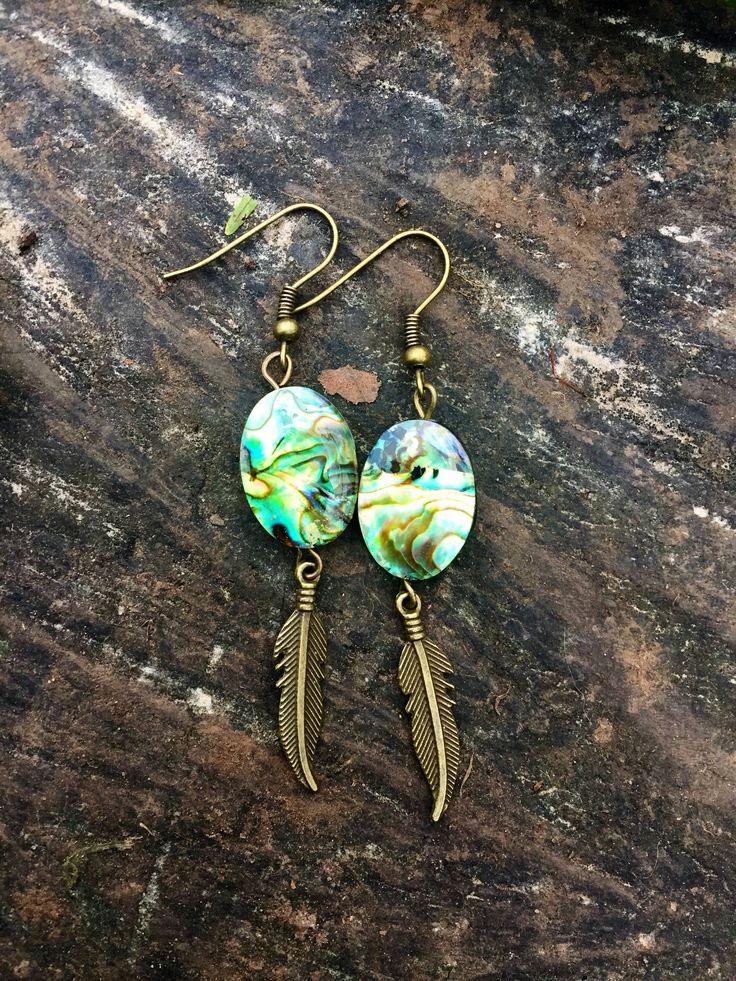 #Abaloneearrings, #earrings, #bohemianearrings, #ethnicearrings, #bohojewelry by YouHadMeAtBoho on Etsy https://www.etsy.com/uk/listing/565649858/abalone-shell-earrings-feather-earrings