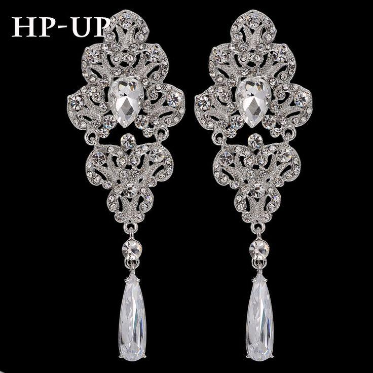 Yhpup Gorgeous AAA Big Zircon Drop Luxury Rhinestone Flowers Chandelier Long Dangle Earrings Bridal Wedding Party Bijoux Brincos
