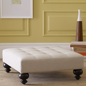 I like this ottoman too (Essex Tufted Ottoman from West Elm) but not as much as the same version in the print. $299