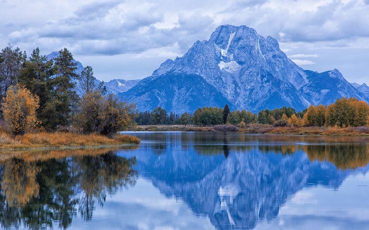 США, Гранд-Титон Национальный парк, штат Вайоминг, осень, река, утро, небо, облака обои 1920x1200