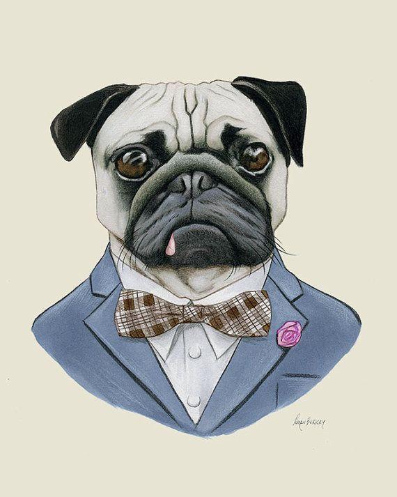 Pug perro arte grabado por Ryan Berkley 8 x 10