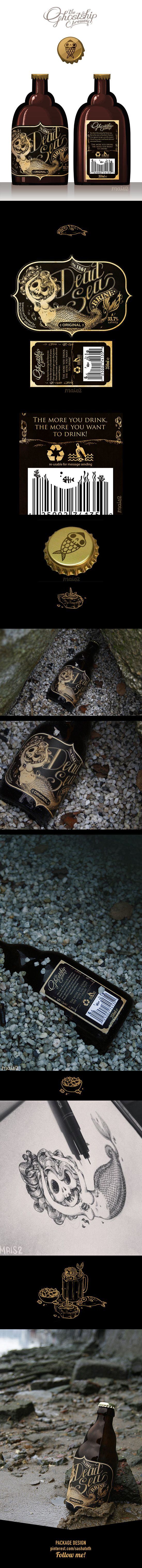 "⚓ The DEAD SEA brine ⚓ ""Personal project for an hypotetic Sea Brine drink for pirates, the 1st of a serie of products maybe, at least I manage to finish this and I'm quite satisfied because it looks how I wanted :)"" by Alessandra MAiS2 Criseo, via Behance I just love this #beer #packaging PD"