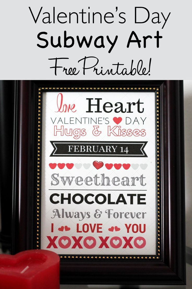 Valentine's Day Subway Art Free Printable - a beautiful home decor idea