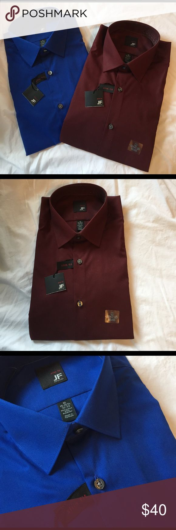Bundle of 2 Men's Long Sleeve Button Downs Brand new, with tags. Unworn and still folded and packed. Measurements are 15-15 1/2 - 32-33. Slim fit. 55% Cotton and 45% polyester. Colors are a nice cobalt blue and dark red maroon color. PRICES ARE FIRM ON NWT ITEMS ALONE BUT I WILL DO MAJOR DISCOUNTS ON ANY BUNDLE. Not trying to make profit, just trying to clear up some space! jf j.ferrar Shirts Dress Shirts