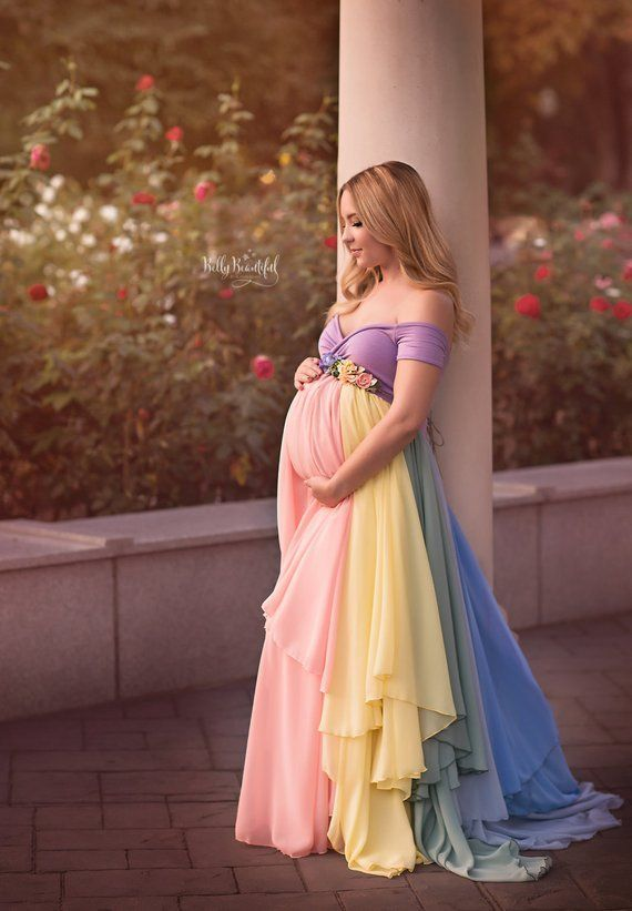 f6e9dc48b04 HOPE Gown  Pastel  • Rainbow Maternity Gown • Sheer Maternity Gown ...