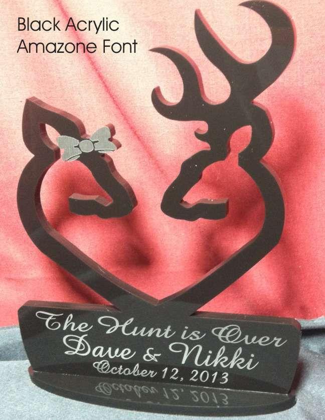Deer Buck Doe Heart, Facing Each Other Hunting Wedding Cake Topper