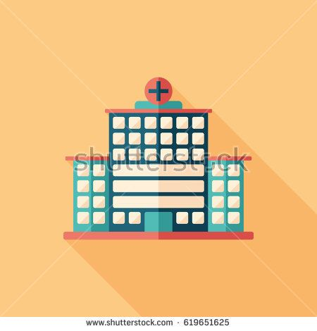 City hospital flat square icon with long shadows. #buildingicon #flaticons #vectoricons #flatdesign