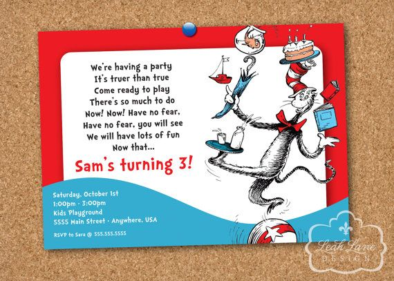 19 best quintins 3rd birthday dr seuss images on pinterest dr cat in the hat dr seuss printable birthday party invitation by leahlanedesign 1800 stopboris Image collections
