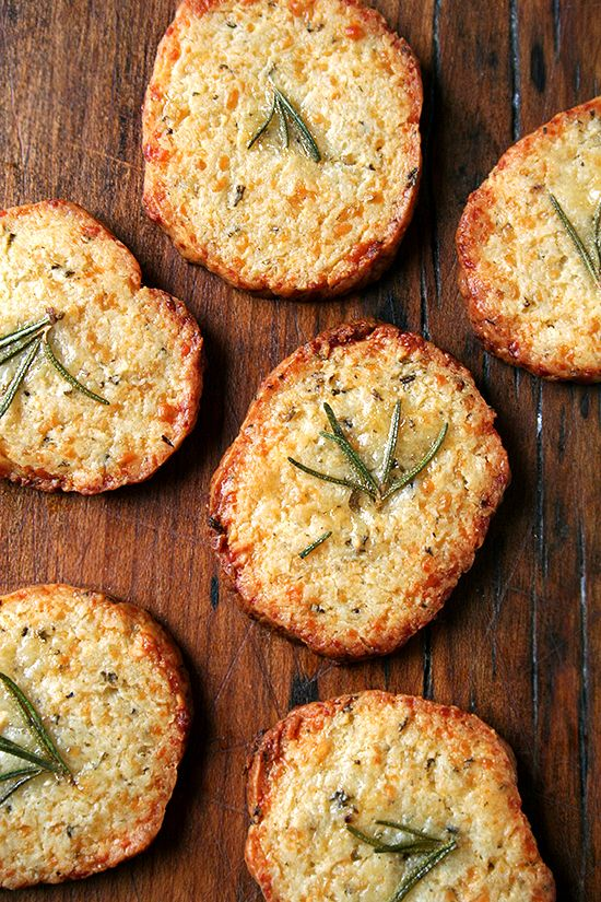 Parmesan Rosemary Crackers...mix, chill, slice and bake. A must try for me!