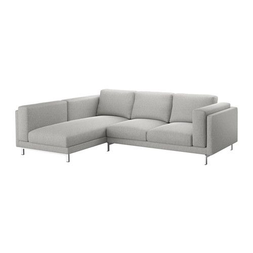 IKEA - NOCKEBY, Loveseat with chaise, left, left/Tallmyra white/black, chrome plated, , You get extra soft comfort and support because the thick seat cushions have a core of pocket springs and a top of cut foam and polyester fibers.The core of pocket springs is durable and keeps its form and soft comfort for a longer time.There's plenty of room for everyone to sit comfortably thanks to the sofa's spacious design.The cover is easy to keep clean as it is removable and can be machine…
