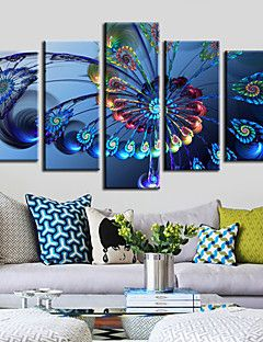 Canvas Set of 5 Ferris Wheel Modern Blue Still Life Stretche... – AUD $ 142.99