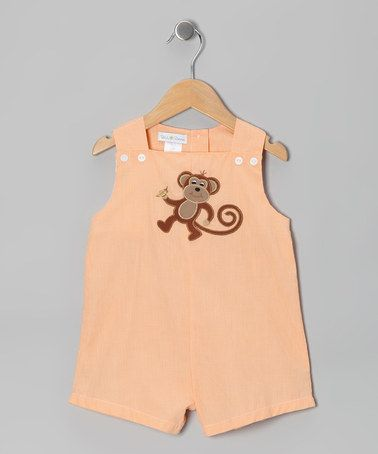 Take a look at this Orange Monkey Shortalls - Infant by Petit Pomme on #zulily today! @Judy Malloy
