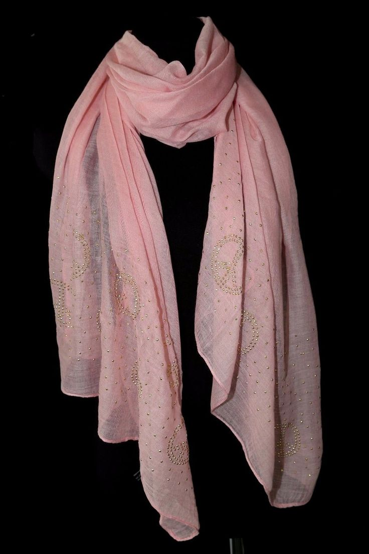 B124 Small Peace Sign Symbol Gold Pink Metal Studded Shawl Scarf Boutique