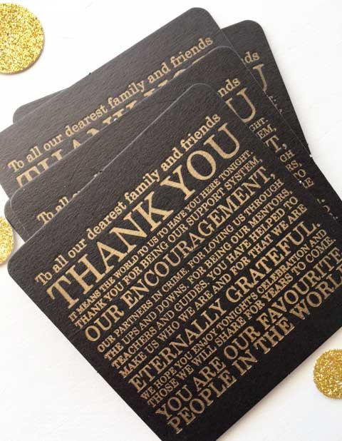 Wedding Coasters Letterpress Wedding Thank You by CocoPress