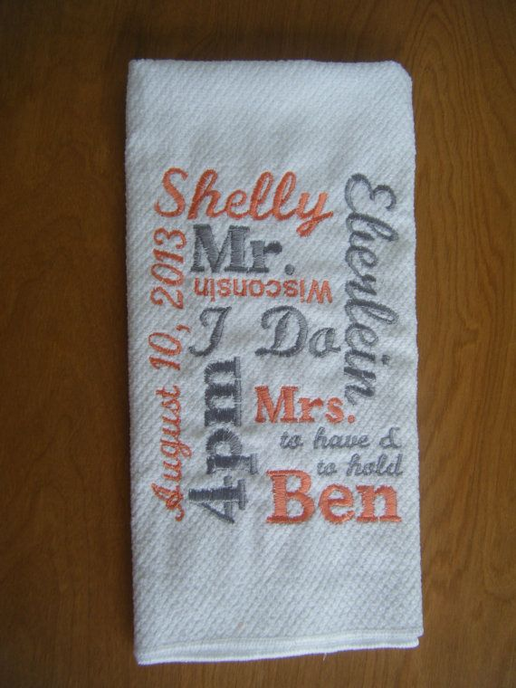 Personalized Kitchen Towel  Wedding Gift  Bridal by Crafting4Caleb, $13.55