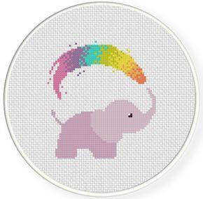 Rainbow Shower PDF Cross Stitch Pattern Needlecraft - Instant Download - Modern Chart