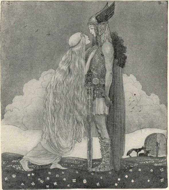 "John Bauer for Our Fathers' Godsaga, ""Freyja and Svipdag"" – 1911"
