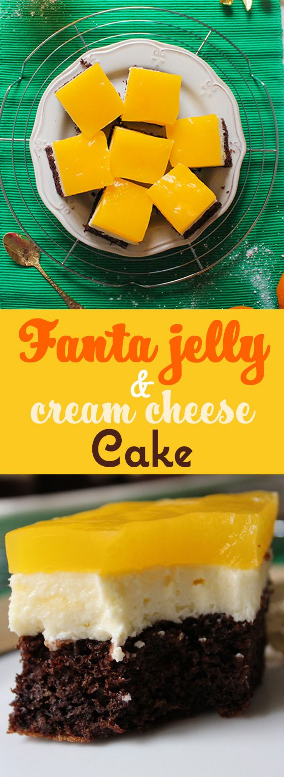 A zesty, sweet and creamy tray cake, made with Fanta juice jelly! Extra colorful and great for parties.