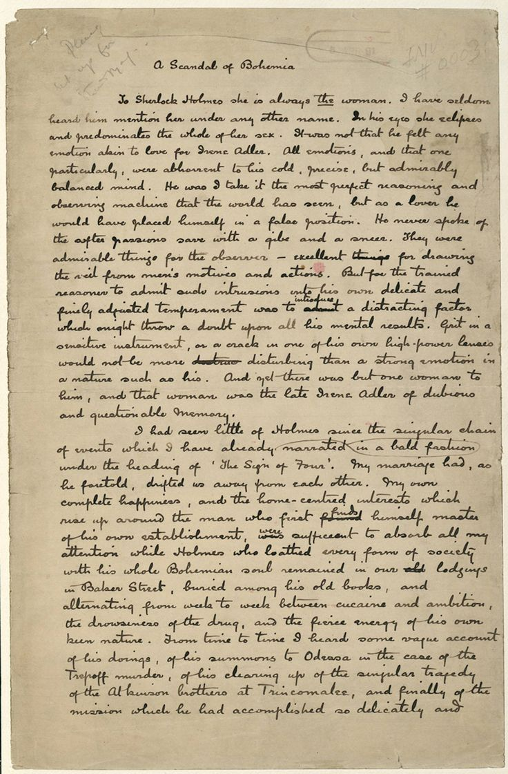 A Scandal in Bohemia - manuscript by Sir ACD (The Woman)