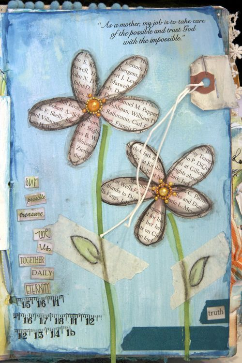 art journal flower page