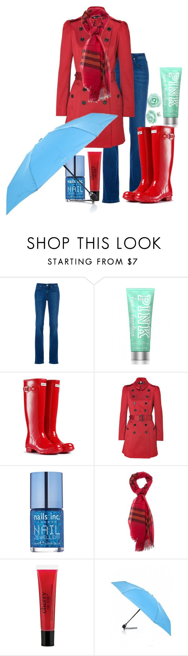 """rain / contest"" by jorgelina2012 ❤ liked on Polyvore featuring Burberry, Victoria's Secret, Hunter, Nails Inc., philosophy and Davek"