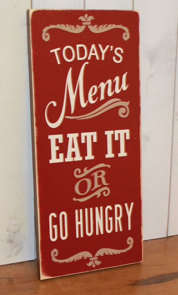Today's Menu Sign/Eat It or Go Hungry/Kitchen Sign/Kitchen Decor/Brown/Rustic Red/Tan