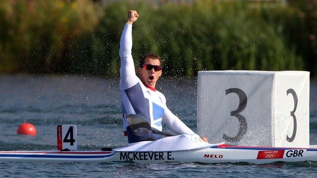 Ed McKeever of Great Britain celebrates winning gold in the men's Kayak Single (K1) 200m Canoe Sprint