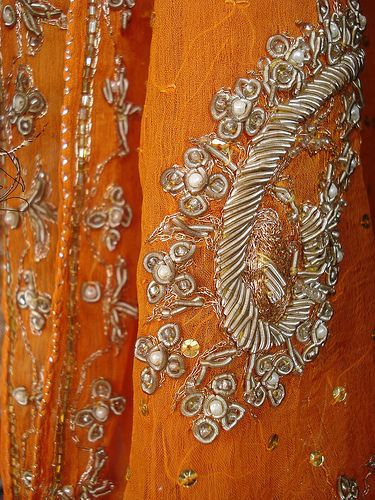 Beaded, embroidered and fabulous! Dabka work with pearls and sequins.