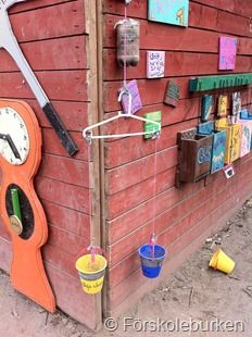 "Lovely resources outdoors ("",) I like the simple bucket balance using found materials. The buckets would be great in a mud pit..."