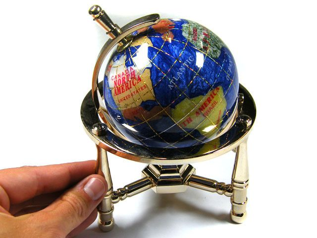 GEMSTONE GLOBE  CARRIBEAN COLOUR 8 CM/HT 5.5 INCHES TW1030 gemstone globe , gemstone display