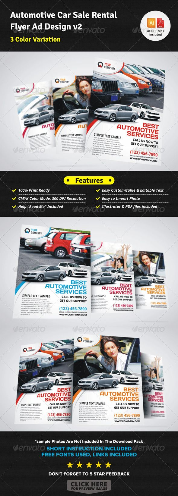 Automotive Car Sale Rental Flyer Ad v2 — Vector EPS #magazine ad #owner • Available here → https://graphicriver.net/item/automotive-car-sale-rental-flyer-ad-v2/6009249?ref=pxcr