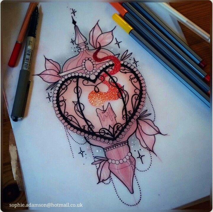Heart shaped lantern tattoo