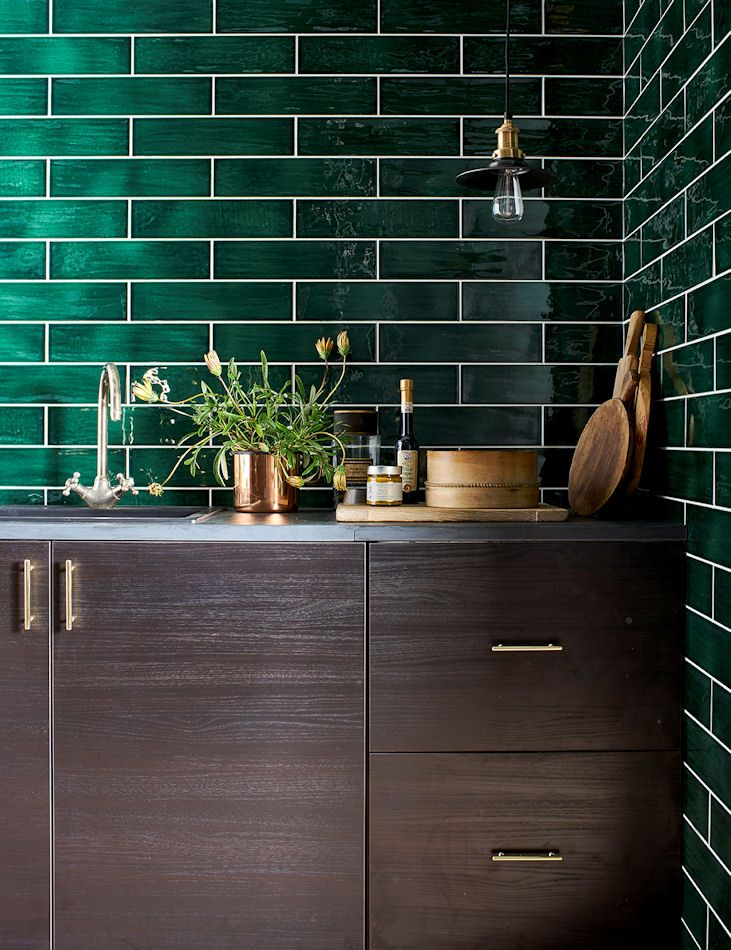 Love this colour for luxurious & moody kitchen tile splash ...