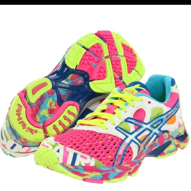 I'm obsessed with these and will get these if they are still available when I can run my first 5k.: Running Shoes, Fun Shoes, Asics Gelnoosa, Bright Color, Gel Noosa Tri, Gelnoosa Tri, Asics Women, New Shoes, The Color Running