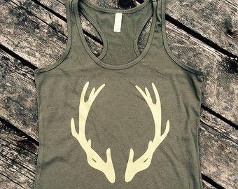 Deer Antlers Ideal Tank, Women's Country Lifestyle Apparel Tank Hunting Deer Season Antler T-Shirt Southern Clothing, Country Sayings Shirt