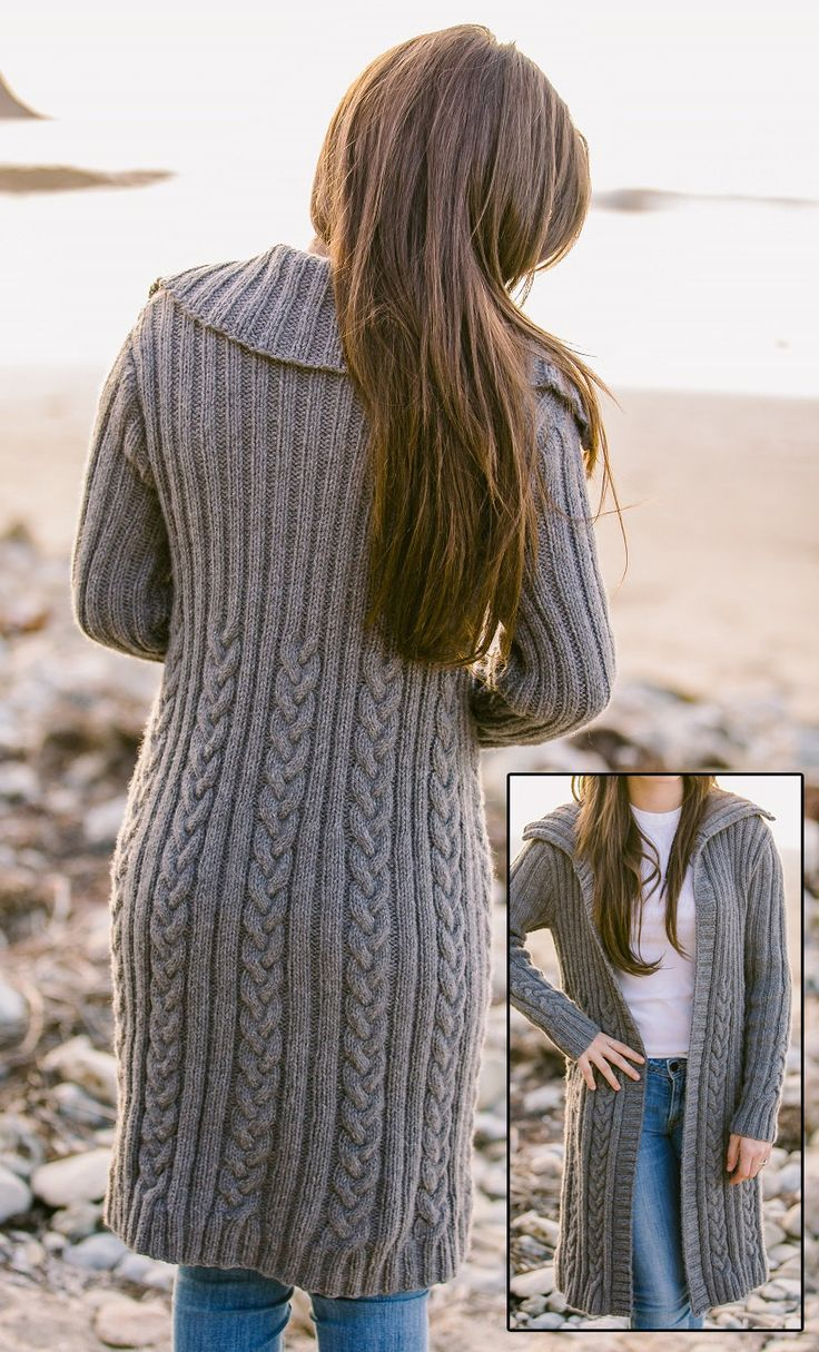 Knitting Pattern For Long Sweater Coat : The 377 best images about Cardigan Knitting Patterns on Pinterest Quick kni...