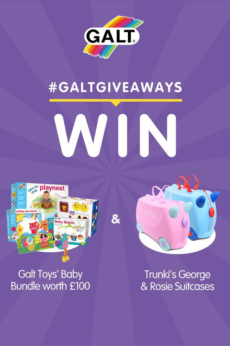 Galt Toys and Trunki have teamed together to celebrate the adventure that begins with the arrival of a new baby.     What You'll Win:   Galt Toys Baby Bundle including: 2-in-1 Playnest, Baby Mobile, Song Bird, Snuggle Pals, Ambi Baby's First Gift Set, First Puppet Book, Smiley Sun Mirror.  Trunki's George and Rosie Children's Suitcases